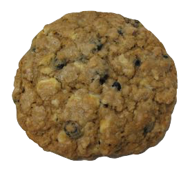 Metal In My Veins is an oatmeal cookie with dried blueberries and white chocolate.